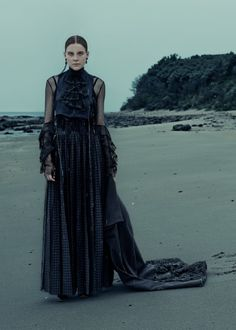 Kim Noorda is Gothic Glam for Elle Germany December 2015 by Carl Bengtsson [fashion]