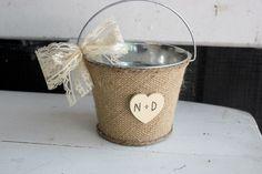 antique white flower girl bucket / basket . personalize heart . burlap wedding bucket . flower girl . rustic woodland flower girl basket via Etsy