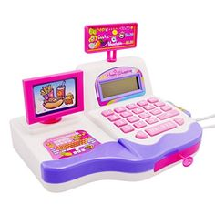 Happy Cherry Kids Supermarket Pretend and Play Calculator Cash Register Toy Realistic Cash Register Early Education Toy (Pink) * Click image for more details.