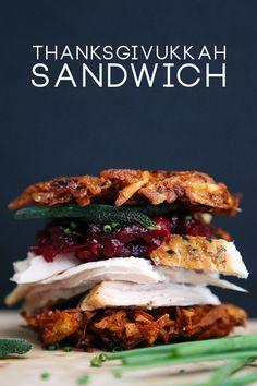 Thanksgivukkah Sandwich: latke, turkey, cranberry sauce and fried sage - QuinnCooperStyle.com