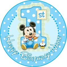 """EDIBLE Baby Mickey Mouse Cake Topper 1st Birthday Wafer Paper 7.5"""" (uncut) decor decorating decoration diy ideas"""