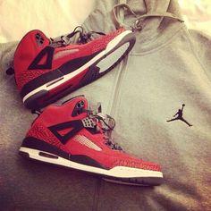 3d9ba6d1b5b0 Air Jordan Spizike (Gym Red) + Jumpman Hoodie (Gray)  Sneakerhead Jordan