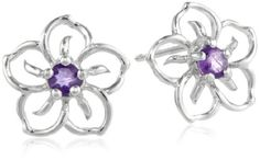 TOPSELLER! Sterling Silver and Amethyst Flower E... $12.00
