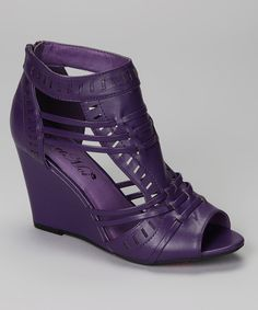 Take a look at this Purple Elisha Peep-Toe Wedge Sandal on zulily today!