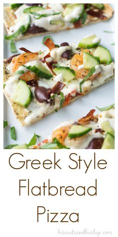 Easy Flatbread Pizza has all the Greek flavors that you love. From BiscuitsandBurlap.com