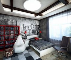 Youth bedroom decorating ideas and photos Boys Room Design, Kids Bedroom Designs, Boys Room Decor, Boy Room, Small Boys Bedrooms, Home Bedroom, Bedroom Decor, Youth Rooms, Teenage Room