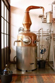 """Vince Oleson refers to Widow Jane Distillery's pot still as its """"copper rocket ship. Wheated Bourbon, Bourbon Drinks, Tequila, Vodka, Whiskey Still, Whisky, Copper Pot Still, Liquid Lunch, Brewery Design"""