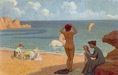 Albert Clouard - La famille Denis à la plage