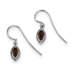 Sterling Silver Rhodium Plated Diamond Garnet Marquise Earrings