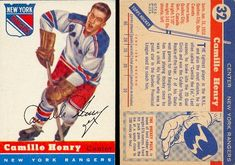 Career highlights, stats and hockey cards of Camille Henry. Camille The Eel played in the NHL with the N. Rangers, Chicago Blackhawks and St. Hockey Cards, Baseball Cards, New York Rangers, Chicago Blackhawks, Nhl, Seasons, Stars, Retro, Sterne