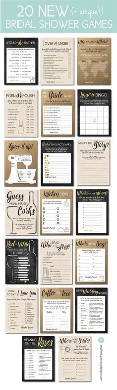 Find 20 new Bridal Shower games in three different styles. Plus, download free graphics. Click through to find matching games, favors, thank you cards, inserts, decor, and more. Or shop our 1000+ designs for all of life's journeys. Weddings, birthdays, new babies, anniversaries, and more. Only at Aesthetic Journeys via @ajourneysdesign