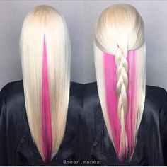 WEBSTA @ hotforbeauty - Pink Confection Beautiful Blonde with hidden Candy Pink panel by @mean.manes #hotonbeauty....#blonde #blondebraids #pastelblonde #underlights #hiddencolor #valentinesday #valentinelove #vday #vdayhair #vdaybeauty