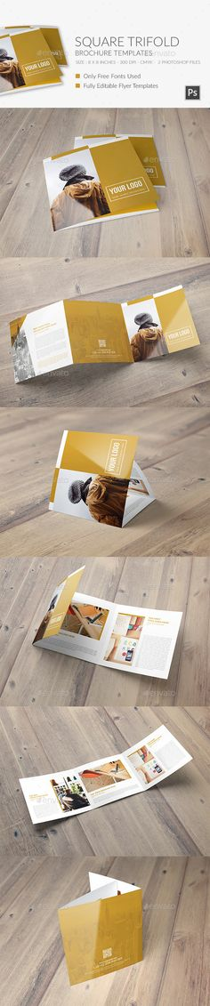 Square Trifold Brochure Template #design Download: http://graphicriver.net/item/square-trifold-brochure-4/12335726?ref=ksioks
