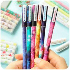 6 pcs/set Color Gel pen Starry pattern Cute kitty hero Roller ball pens Stationery Caneta escolar Office school supplies 6244