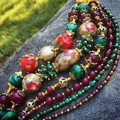 """Купить Браслет """"На закате лета"""" - разноцветный, яркий браслет, эффектный браслет, Авторский дизайн"""