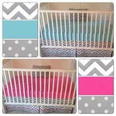 Boy Girl Twin Nursery Aqua Pink    Bumperless Crib Bedding Set Girl Boy Twins by butterbeansboutique, $382.00