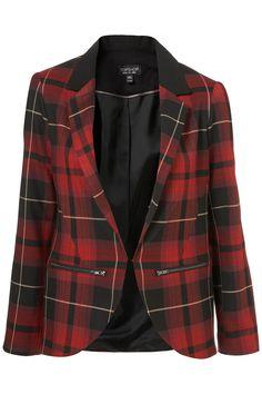 tartan zip blazer