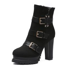 $34.25 European and American women boots fashion winter new ultra-high boots with Knight crude Martin boots with the waterproof Taiwan personality belt buckle-ZZKKO