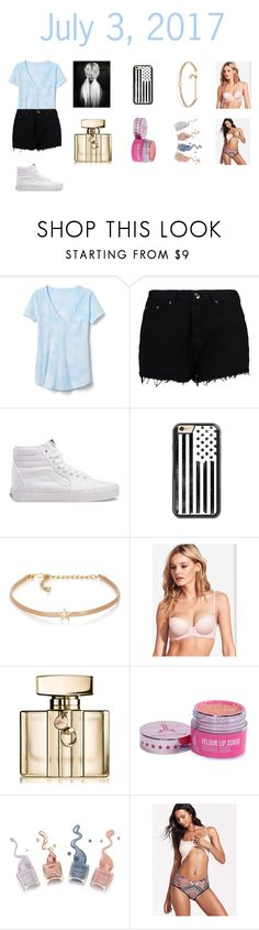 """July 3rd outfit"" by cassieee-m ❤ liked on Polyvore featuring Gap, Boohoo, Vans, Kenneth Jay Lane and Gucci"
