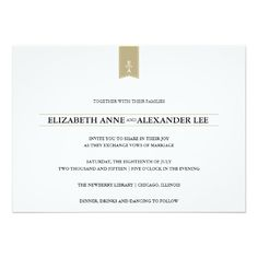 "Classic Monograms Gold Wedding Invitation 5"" X 7"" Invitation Card $2.01 per card"