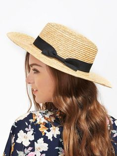 bow band straw boater hat. #borntowear #fashion #accessories #hats & gloves