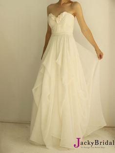 Soooooooo Elegant,White A Line Strapless Chiffon Wedding Dress