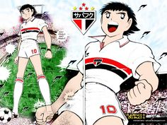 O japonês Oliver Tsubasa com o uniforme do São Paulo e montagem do símbolo recente do clube.