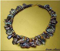 Perlenketten - Schweifperlen in  tahiti peacock - ein Designerstück von Dream-Colliers bei DaWanda