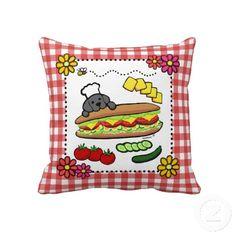 Black Labrador Bakery Cartoon Throw Pillow