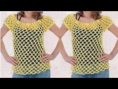 "Blusa Remera Jersey a Crochet /Ganchillo ""Fernanda"" Tutorial por Maricita Colours - YouTube"