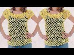 "Blusa Remera Jersey a Crochet /Ganchillo ""Fernanda"" Tutorial por Maricita Colours - YouTube"