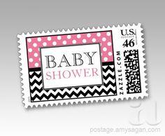 Polka Dot Pink & Chevron Baby Shower Postage Stamps