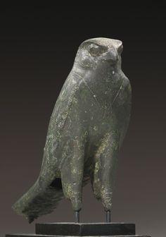 An Egyptian Bronze Figure of the Horus Falcon, 26th Dynasty, 664-525 B.C.