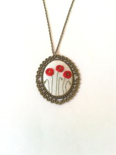 Hand embroidered Poppy field necklace in vintage style. It is a great gift for woman or girl who loves spring times, gardens or flowers  The poppies