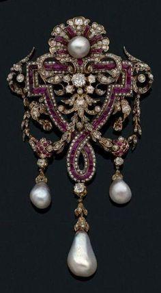 Charles Martial Bernard, devant de corsage in oro, perle, rubini e diamanti, 1865 ca.