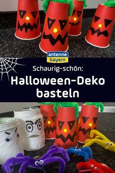 Halloween am 31. Oktober ist ein toller Anlass, einzigartige Deko selbst zu basteln. Mit unseren drei Anleitungen ist das vor allem mit Kindern super witzig. Die Ideen und Inspirationen, damit ihr die passende Halloween Deko basteln könnt, gibt es hier! Diy With Kids, Halloween Girlande, Super, Cooking, German, Snacks, Holidays, Inspiration, Halloween Kids