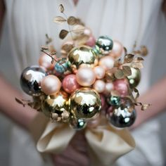 For a Christmas season wedding- a bouquet of vintage, glass ornaments.