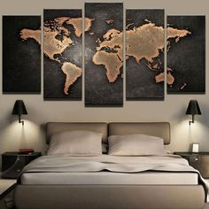 5 Pieces Retro World Map - Canvas Wall Art Painting