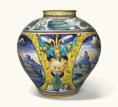 A Venice maiolica jar, circa 1560-70, workshop of Maestro Domenego da Venezia