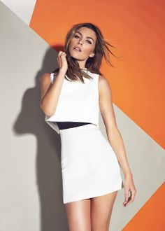 Abbey Clancy Scuba High Neck Dress - Matalan £40   Stand out from the crowd with the scuba high neck 2 in 1 style dress in white. Styled in a mini shape with a contrast waistband in black and centre back zip.