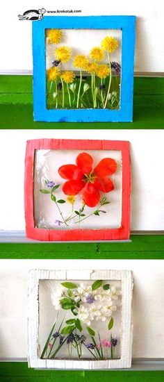 Krokotak flower panels nature craft for kids. How to make flower panels from real flowers, cardboard & plastic wrap. Spring Activities, Art Activities, Children Activities, Flower Activities For Kids, Projects For Kids, Art Projects, Older Kids Crafts, Fun Crafts, Arts And Crafts