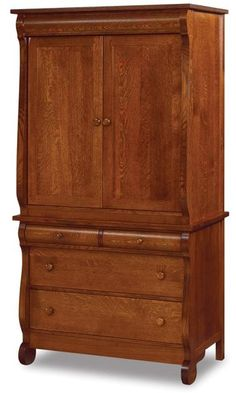 Amish Old Classic Sleigh Large Two Piece Armoire Solid wood armoire in the wood, stain and hardware you select. This bedroom storage is romantic and rich and made in Amish country. #armoire #bedroomstorage #bedroomchest