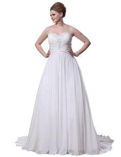 JOLLY BRIDAL Chiffon Sweetheart Wedding Dress Plus Size, Ivory, Size 28W