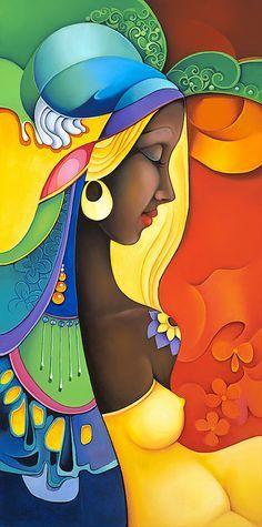 Art by Orestes Bouzon Black Women Art, Black Art, Arte Black, African Art Paintings, Afro Art, African American Art, Lovers Art, Art Pictures, Photos