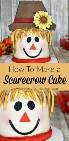 This scarecrow cake is the perfect way to welcome fall. He's super cute and not at all scary. Learn how you can make him. It's easier than you might think.