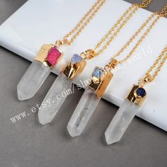 Wholesale Gold Plated Natural Crystal Point Necklace With Rainbow Agate Druzy Stick White Aura Quartz Point Gemstone Boho Jewelry G0157-N by Druzyworld on Etsy