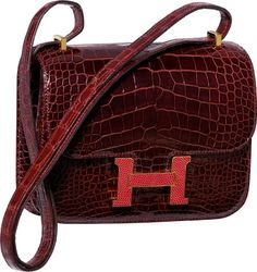 Hermes Limited Edition 18cm Shiny Bordeaux Alligator; Rouge H Lizard Double Gusset Marquette Constance Bag with Gold Hardware