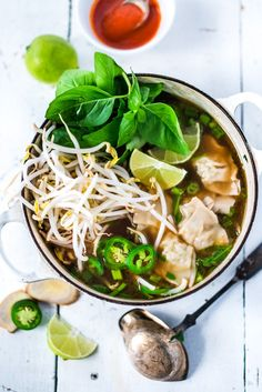 LiGHTING SPEED PHOTON SOUP:  a cross between Vietnamese Pho and Wonton Soup that can be made in 15 minutes flat!  Nourishing, healthy and flavorful. | www.feastingathome.com