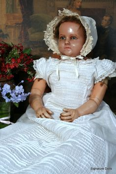 "LARGE 29"" English Poured Wax Child with Plump Modeling from signaturedolls on Ruby Lane"