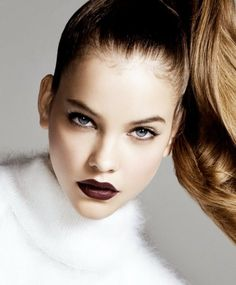 love her dark lips and honey colored hair for the fall l Shiseido lipstick in Natural Wine http://www.sephora.com/perfect-rouge-tender-sheer-P257314?skuId=1237551